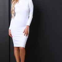 Funnel Neck Bodycon Midi Dress