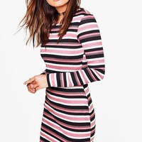 Amelia Stripe Long Sleeve Bodycon Dress | Boohoo