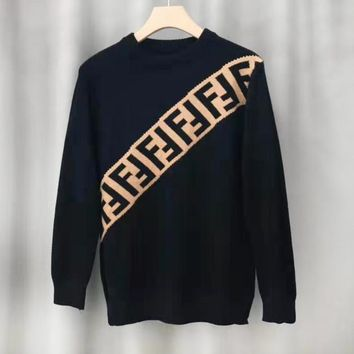 FENDI hot selling bevel double F jacquard round neck sweater fashion casual men's and women's sweaters
