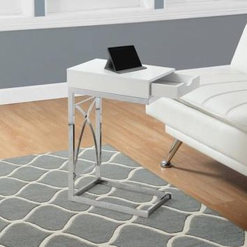 Glossy White Accent Table In Chrome Metal With Drawer