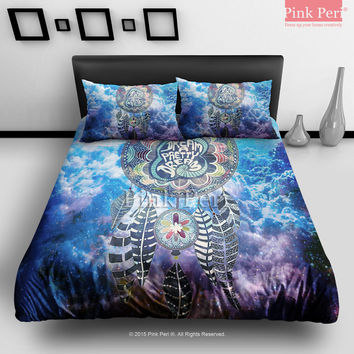 dream catcher on nebula galaxy cloud from pink peri