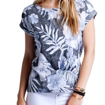 Sol Angeles 'Indigo Palm' Floral Cotton Tee | Nordstrom