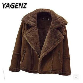 YAGENZ New Winter Women Suede Lamb Wool Coat Big size 5XL Korean Slim Thickening Cotton Short Jacket Bomber Winter Lady Overcoat