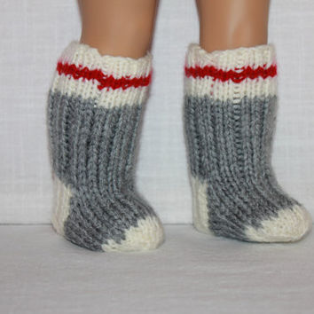 18 inch doll clothes,  hand knit socks, grey knitted socks, doll socks, unisex doll socks, Upbeat Petites