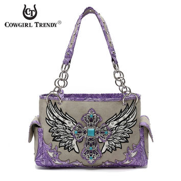 Cowgirl Trendy Wing and Cross Handbag