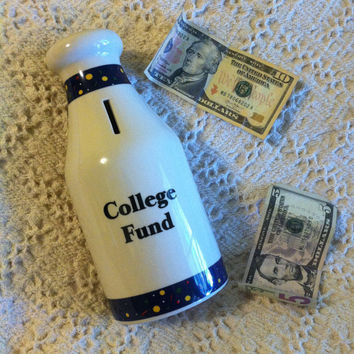 College Fund Ceramic Bank Milk Bottle Country Style Savings Bank Money Container Graduate College Student Gift Dorm Room Home Decor