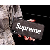 Supreme Tide brand skinny iphone xs max anti-fall soft shell protector black