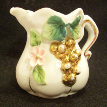 PORCELAIN MINIATURE VASE Pitcher Pink Flower Mint Green and Teal Leaves Gold Enhancements