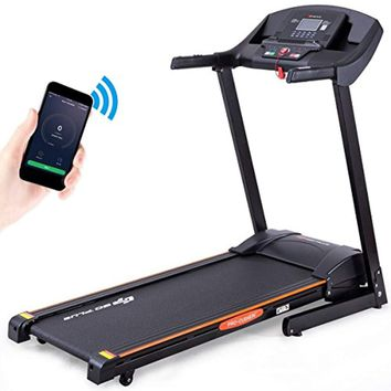 2.5HP Folding Treadmill Electric Incline Jogging Running Fitness Machine w/App Control, Large LCD Display Black Jaguar Ⅲ
