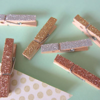 6 Mini Glitter Clothespins-- Gold, Silver, Copper-- Gift Accessory, Office Supply