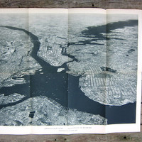 Vintage aerial view of New York Harbor Upper Bay / Large Antique Wall Map