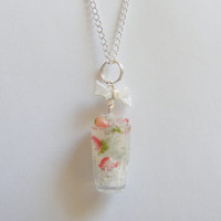 Strawberry Cocktail Necklace Pendant - Miniature Food Jewelry