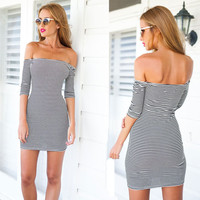 Black and White Slash Neck Dress