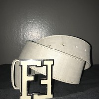 **GREAT CONDITION** White Fendi Belt Men's Size 32-34 (Small)