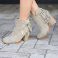 Light Tan Fringe Booties