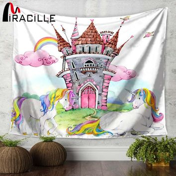 Miracille Cartoon Unicorn Rainbow Castle Printed Wall Tapestry Kids Room Wall Hanging Tapestries Moroccan Decor Sofa Chair Cover