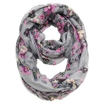 Tabitha Flower Infinity Scarf in Gray