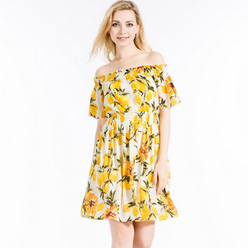 Yellow Floral Print Off the Shoulder Elastic Waist A-Line Dress