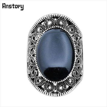 ONETOW Hollow Flower Oval Stone Rings For Women Vintage Antique Silver Plated Fashion Jewelry TR410