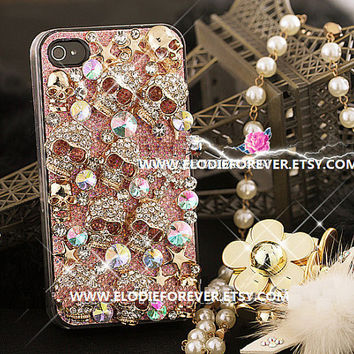 NEW 3D Bling Bling Super Luxury iPhone 4 Case Crystal  Rhinestone Swarovski Crystal iPhone 4S SKULL iPhone 5 Case punk case