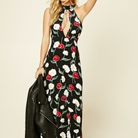 Floral Keyhole-Neck Maxi Dress