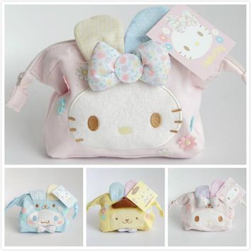 Cute Cartoon Easter My Melody Hello Kitty Cinnamoroll Pudding Dog Plush Bags Anime Purse Cosmetic Bag Girls Lover Children Gifts