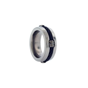 Polished Titanium Band Ring with Memory Cable
