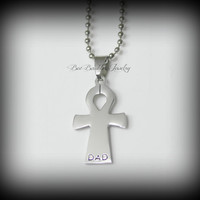 Fathers Day Gift - Hand Stamped Stainless Steel Onk Necklace - Hand Stamped Ankh Cross