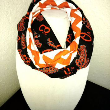 Baltimore Orioles Infinity Scarf - Lightweight Cotton, jersey knit - Beautiful, baseball scarf, woman's scarf, MLB