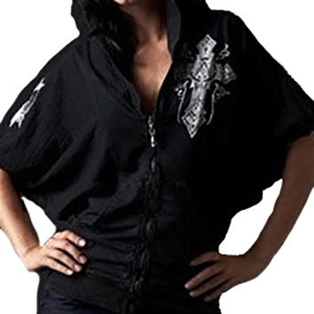 Affliction Chaos Bubble Sleeve Zip Hoody Black