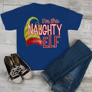 Kids Funny Elf T Shirt Naughty Matching Christmas Shirts Graphic Tee Watercolor Elves Toddler Tee Boy's Girl's