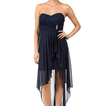 Teeze Me | Strapless Floral Sequin Lace With Brooch High-Low Dress | Navy