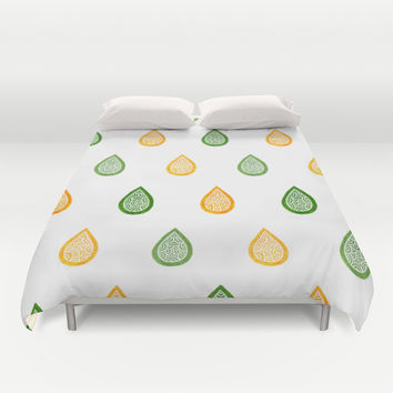 Yellow and green raindrops Duvet Cover by Savousepate