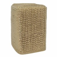 57561 Elegant Ceramic Stool - Gold - Benzara