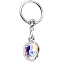 "9/16"" Aurora Sugar Skull BCR Captive Ring Created with Swarovski Crystals"