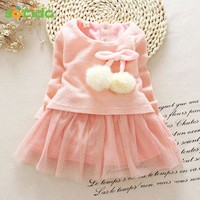 2017 Autumn Winter Baby girls clothes long sleeve princess girls dress Ball of yarn Kids Clothes Children Party princess dresses