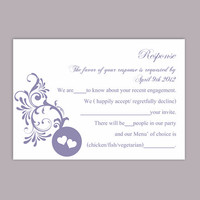 DIY Wedding RSVP Template Editable Word File Instant Download Rsvp Template Printable RSVP Cards Purple Rsvp Card Elegant Rsvp Card
