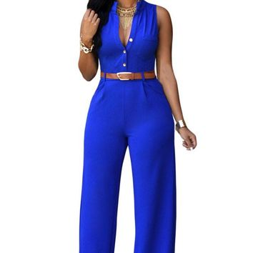 ZKESS Top Selling Plus Size 7 Colors Rompers 2017 Summer Overalls Sleeveless Belted Wide Leg Playsuits LC60932 combinaison femme