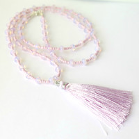 Pink Opalite Necklace / Long Tassel Necklace with Opalite