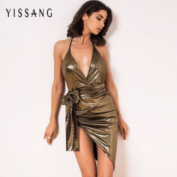 Yissang 2017 Women Evening Party Bandage Dress Spaghetti Strap Halter Sexy Celebrity Bodycon Dresses Club Wear Elastic Vestidos