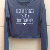 "Crop  Long Sleeves Luke Hemmings tank 5 Seconds of Summer tank shirt tshirt crop Women""s clothing Size S"