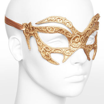 Gold Embroidery Masquerade Mask With Lace Emboss -  Lace Applique Covered Venetian Style Mardi Gras Mask