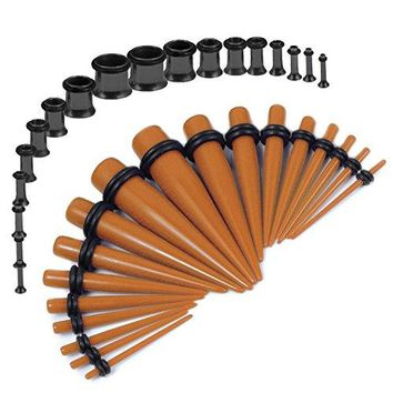 BodyJ4You Gauges Kit Brown Tapers Black Plugs Steel 14G-00G Stretching Set 36 Pieces