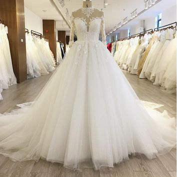 High Neck Long Sleeve Ball Gown Wedding Dress Lace Appliqued Beaded Illusion Neckline Royal Luxury Bridal Gown