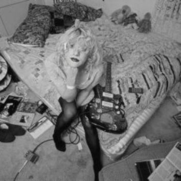 Courtney Love poster Metal Sign Wall Art 8in x 12in Black and White