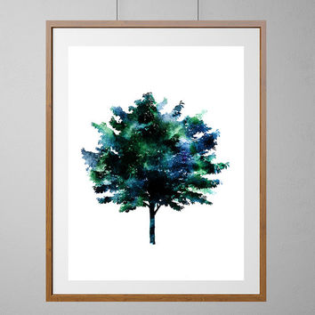 Tree Art Print, Blue Green abstract tree watercolor illustration, Wall Art Home Decor, Gift, Giclee print Poster of a Blue Green Tree [N193]