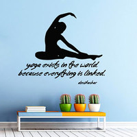 Wall Decals Quote Yoga Studio Vinyl Decal Sport Sticker Girl Bedroom Decor KG819