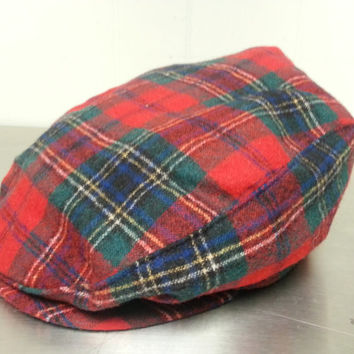 Vintage Pendleton Red Plaid Cabbie Newsboy Cabbie Hat Size XL Made In USA Portland Oregon Hipster Style Dad Hat Golf Cap Fall Fashion