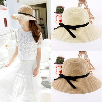 Fashion Women Sun Hat Straw Hat Wide Brim Summer Beach Headwear H3135 = 1651623428