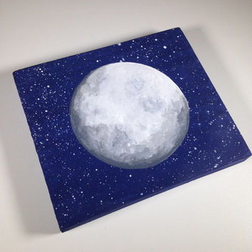 The Moon Modern Rustic reclaimed wood wall art